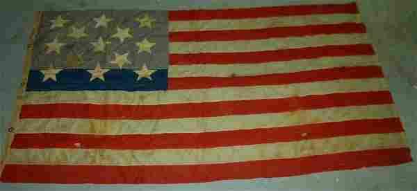 FINE AMERICAN (13) STAR FLAG HAND STITCHED W/ COTTON