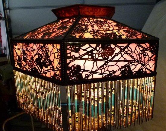 REVIERE GRAPEVINE FILIGREE LAMP c.1920