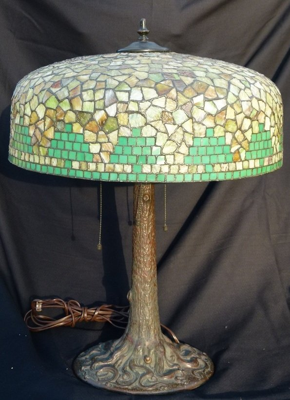 SEMMER TABLE LAMP SLAG GLASS PINE TREE SHADE c.1915
