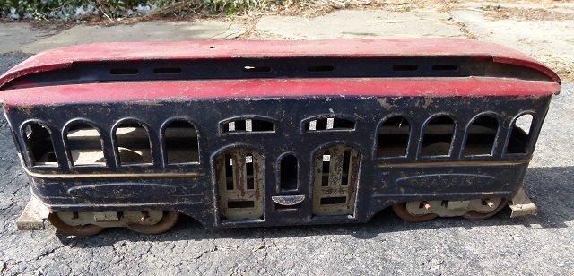 LARGE PAINTED TIN TRANSIT TROLLEY CAR 19th c.