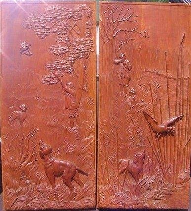 2 Continental Wood Carved Panels 19/20th c.