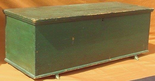 Country Pine Shoe Foot Blanket Box Grn/Blu Paint 19th c