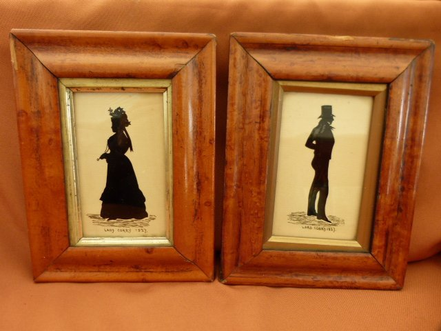 Lot 2 Ink / Watercolor Silhouettes 19th c.