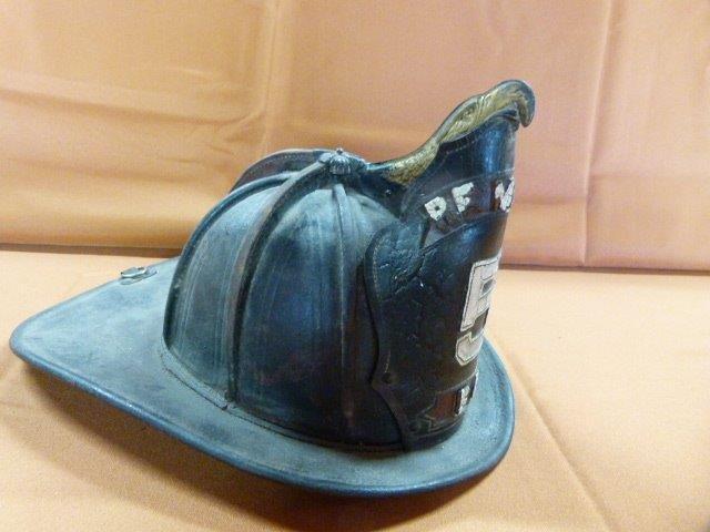 John Olson Remsen Fire Dept #5 Leather Helmet 19th c.