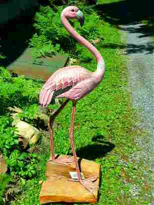 """Large Carved Painted Flamingo Decoy 20th c. H 48"""""""