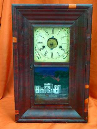 Empire Mahogany OG Shelf Clock J.C.Brown Painted Tablet