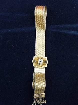 18Kt Vict. Slide Bracelet w/Enameled Decoration c.1880