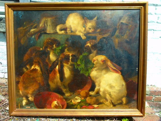 "O/C Henry Weeks ""Dinner Time"" 19th c.  27"" x 34"""