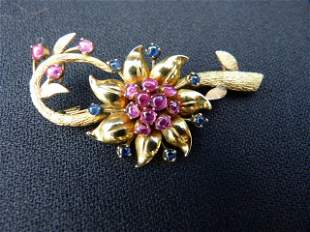 Cabochon Sapphire Ruby Floral Brooch c.1940