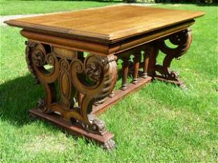"""Horner Carved Oak Library Table 19th c. L 60"""" x W 33"""""""