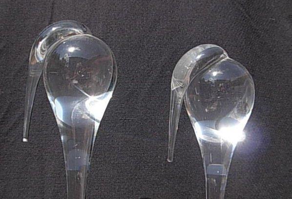 Lot (2) Vintage Steuben Glass Storks Signed - 2