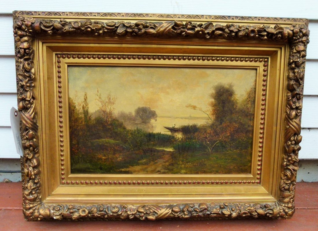 O/C Landscape/Lake Signed T.H.Rousseau