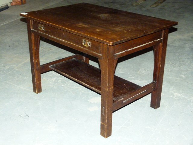 L & JG Stickley Mission Oak Library Desk w/Drawer c.190