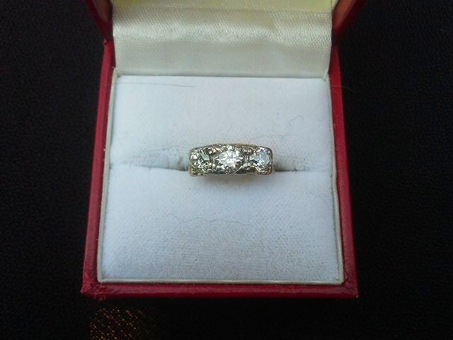 Art Deco 14 kt White Gold/3 Diamond Ring c.1920