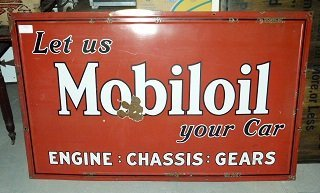 "Large Porcelain ""Mobil Oil"" Sign c. 1910/20"