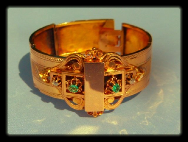 Victorian Mourning Bracelet 18kt.Diamond/Emerald 19th c