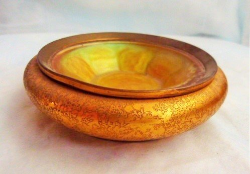 TIFFANY FURNACES GILT BRONZE/FAVRILE GLASS TRAY