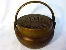CHINESE BRONZE RETICULATED BAT CENSER  BURNER 1819TH