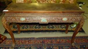 FINE CHINESE CARVED ZITAN INLAID JADE TABLE 18/19TH C