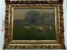 O/C GRAZING SHEEP SIGNED C T. PHELAN (1840 - NY) 19TH C