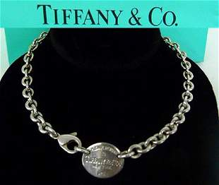TIFFANY & CO. STERLING SILVER NECKLACE W/ ORIG. BAG