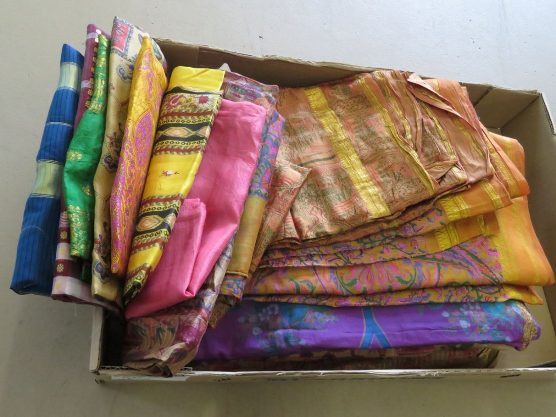 (12) VINTAGE INDIAN/PAKISTAN SAREE'S W/ WOVEN GOLD
