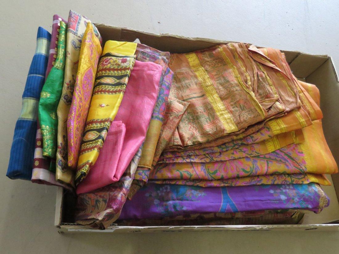 (12) VINTAGE INDIAN/PAKISTAN SAREE'S W/ WOVEN GOLD