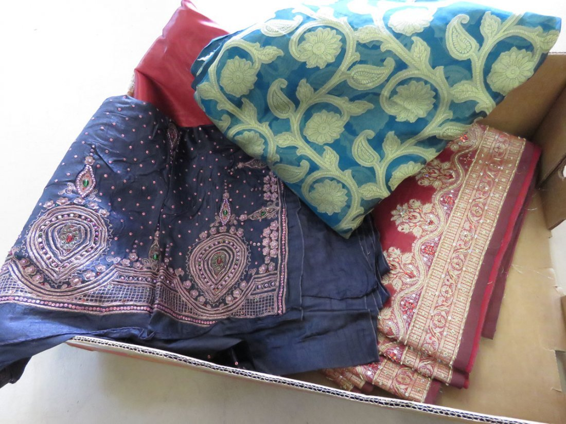 (3) VINTAGE INDIAN SAREE'S W/ PEARLS/SEQUINS/GLASS
