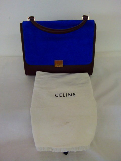 VINTAGE CELINE BROWN/BLUE/GRAY LEATHER/SUEDE TOTE - 2