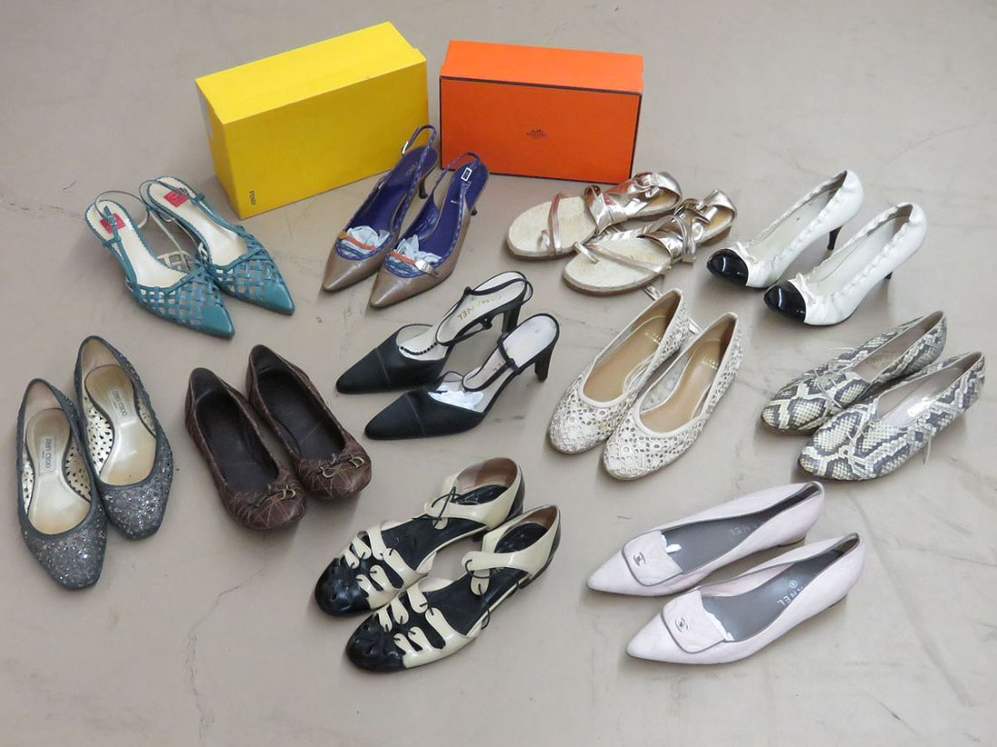 11 PR VINTAGE DESIGNER SHOES INCL. OSCAR, FENDI,