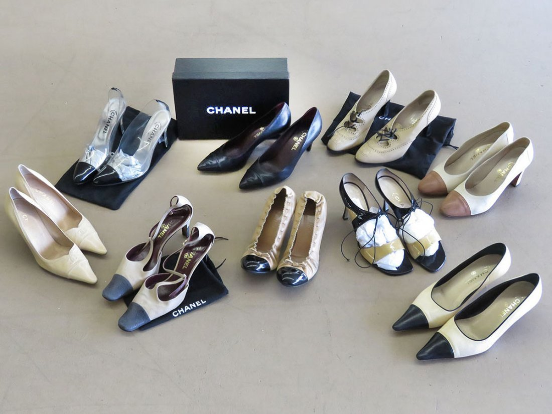 9 PR VINTAGE CHANEL BLACK/TAN ASSORTED STYLES SZ 8 1/2