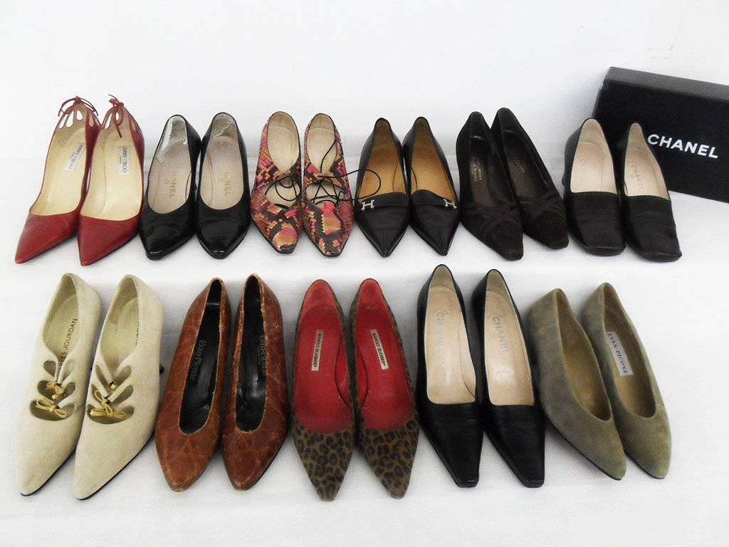 11 PR VINTAGE DESIGNER SHOES INCL. CHANEL, PICCONE,
