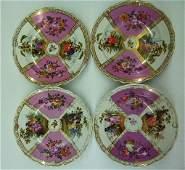 LOT (4) H/P DRESDEN PORCELAIN SHOW PLATES/BOWLS 19TH C.