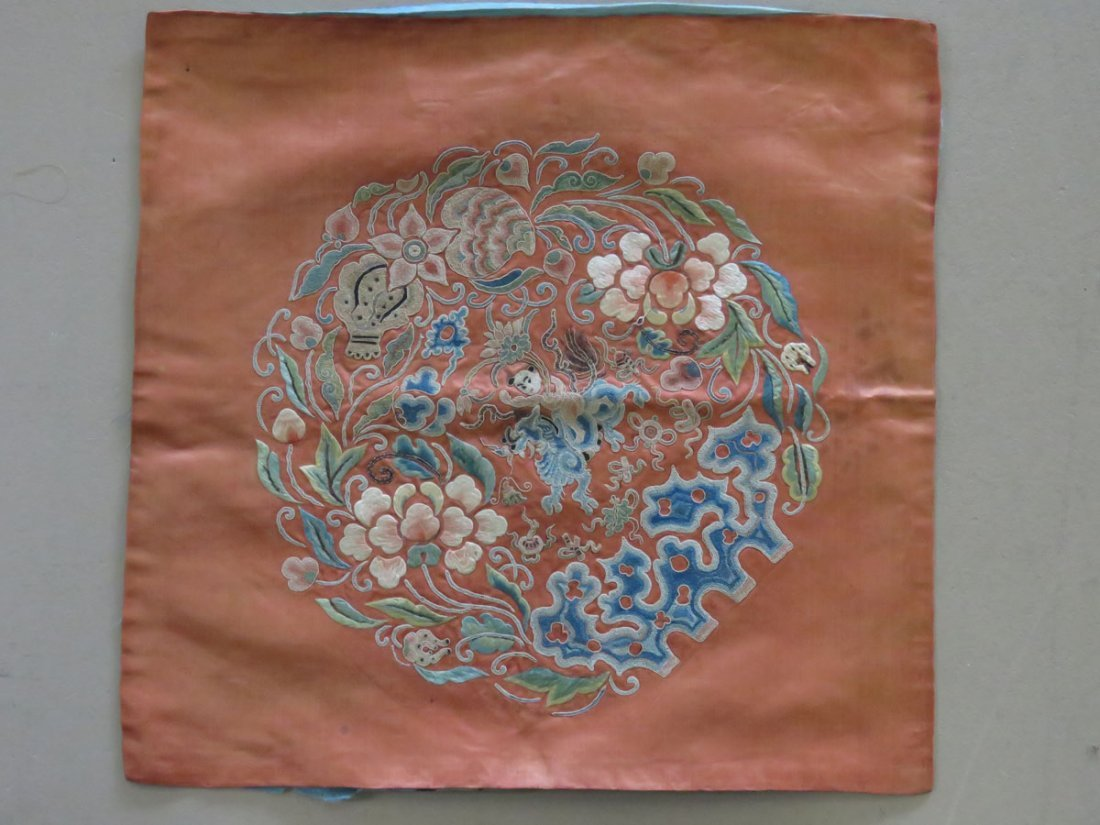 CHINESE CREWELWORK/SILK PANEL C. 1850