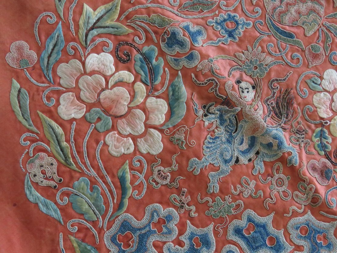 CHINESE CREWELWORK/SILK PANEL C. 1850 - 2