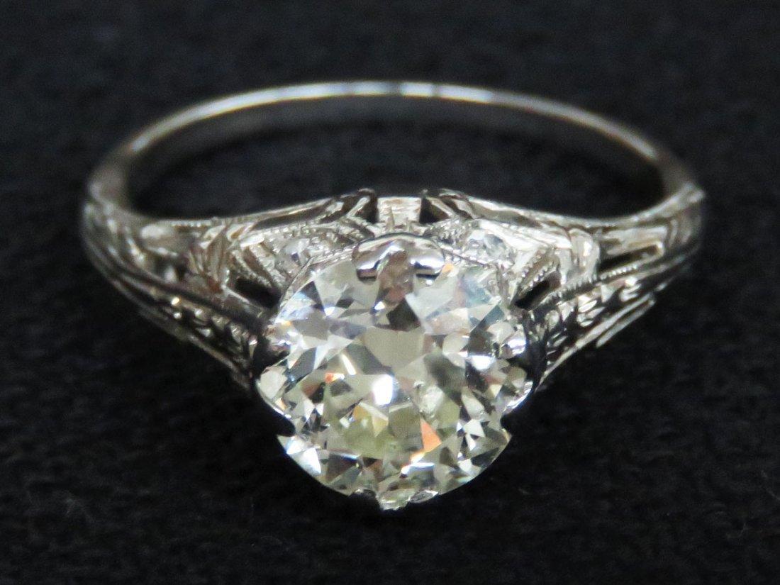 ART DECO PLATINUM/DIAMOND RING W/OVER 1.8 CT. CENTER