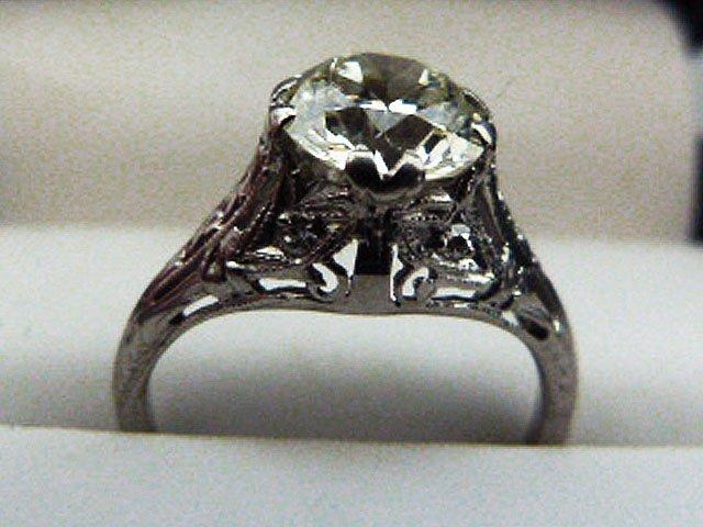 ART DECO PLATINUM/DIAMOND RING W/OVER 1.8 CT. CENTER - 3