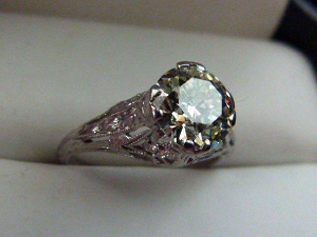 ART DECO PLATINUM/DIAMOND RING W/OVER 1.8 CT. CENTER - 4
