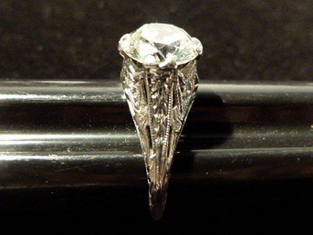 ART DECO PLATINUM/DIAMOND RING W/OVER 1.8 CT. CENTER - 5