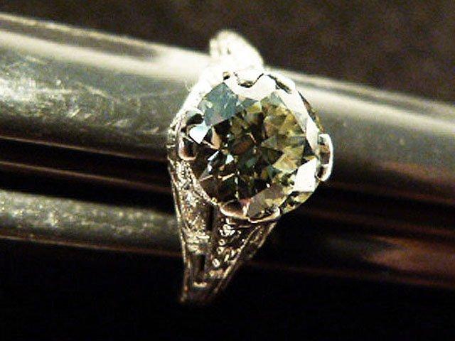 ART DECO PLATINUM/DIAMOND RING W/OVER 1.8 CT. CENTER - 6
