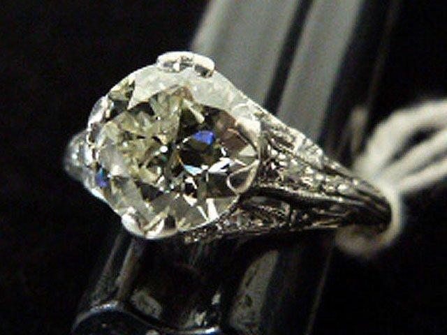 ART DECO PLATINUM/DIAMOND RING W/OVER 1.8 CT. CENTER - 7