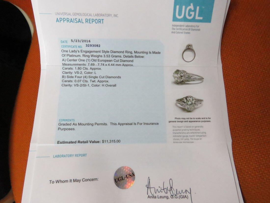 ART DECO PLATINUM/DIAMOND RING W/OVER 1.8 CT. CENTER - 8