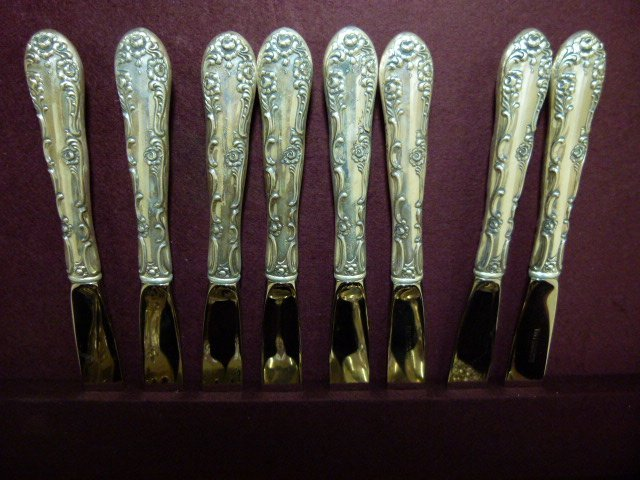 TOWEL STERLING SILVER FLATWARE SERVICE FOR (8) C.1960 - 3