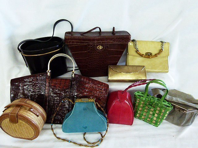 LOT (10) VINTAGE DESIGNER HANDBAGS INCL. CROC., STRAW,