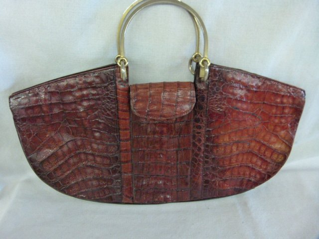 LOT (10) VINTAGE DESIGNER HANDBAGS INCL. CROC., STRAW, - 7