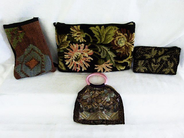 LOT (4) VINTAGE HAND STITCHED BAGS