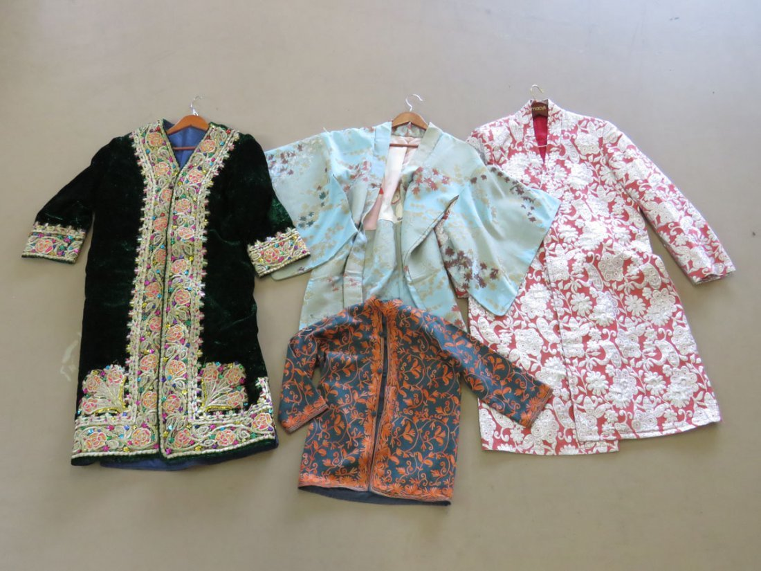 LOT (4) VINTAGE CHINESE/INDIAN EMBROIDERED/JEWEL