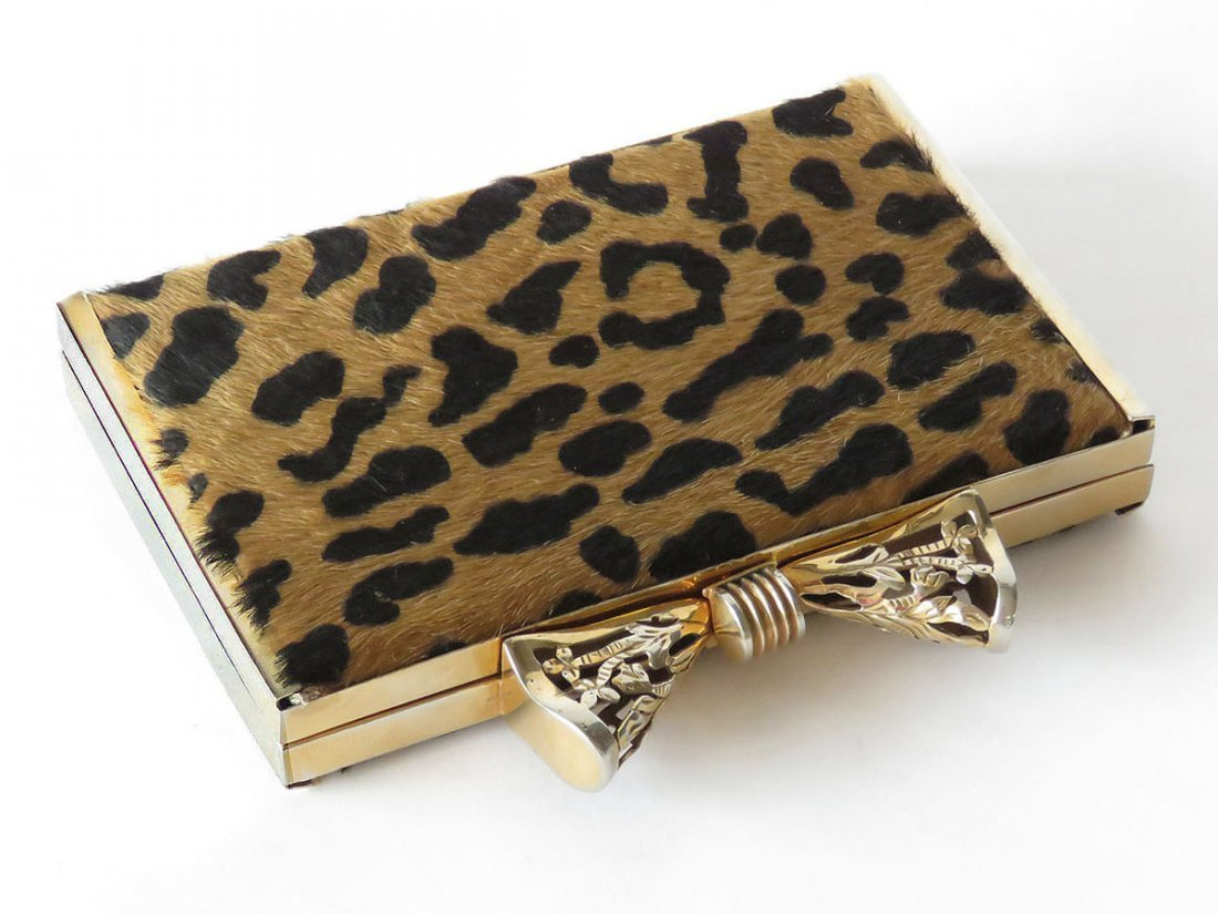 FINE LEOPARD SKIN GOLD PLATED BOW TIE CLUTCH PURSE