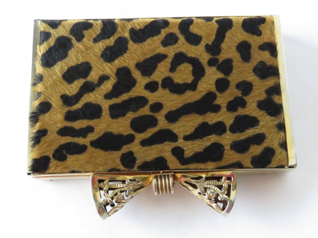 FINE LEOPARD SKIN GOLD PLATED BOW TIE CLUTCH PURSE - 2