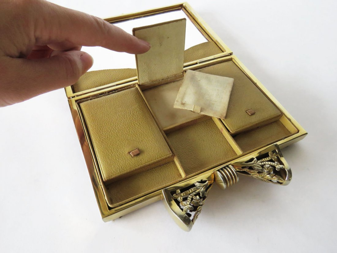 FINE LEOPARD SKIN GOLD PLATED BOW TIE CLUTCH PURSE - 5